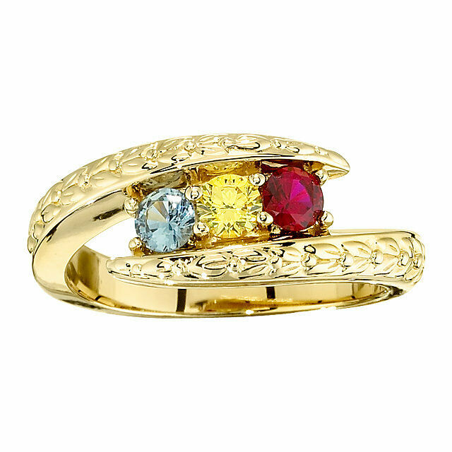 10K or 14K Solid gold Mother's Day Ring 1 to 5 Birthstones, Family Rings
