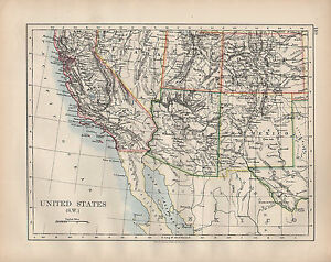Map Of Arizona Utah And Colorado.Details About 1902 Map United States South West California Arizona New Mexico Utah Colorado