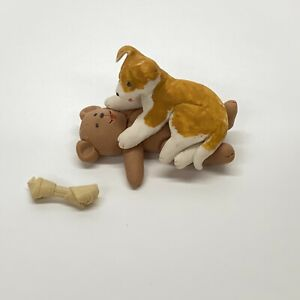 Dollhouse-Miniature-Clay-Puppy-Dog-Lying-On-Teddy-Bear-With-Bone-1988-Jacobs