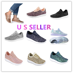 Link Remy-18 Kids&Infant Girls Fashion Sneaker-Lightw<wbr/>eight Glitter Lace Up Shoes