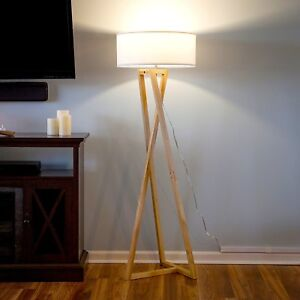 Details About Modern Wood Floor Lamp Contemporary Led Ambient Light Unique Minimalist Lighting