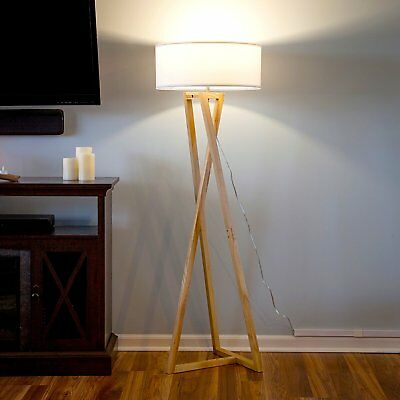 Superieur Modern Wood Floor Lamp Contemporary LED Ambient Light Unique Minimalist  Lighting   EBay