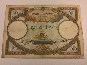 France Banknote. 50 Francs. Dated 1934. French Vintage Note.