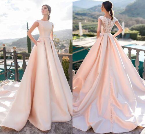 Vintage Wedding Dresses Cap Sleeve Church Satin Princess Pink Bridal Gown Custom