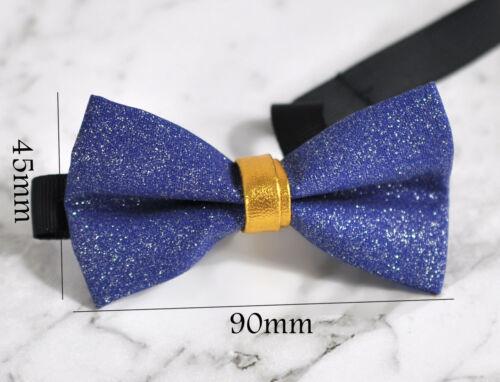 Father Son 100/% Handmade Shining Royal Blue  Indigo Leather Look Bow Tie Bowtie