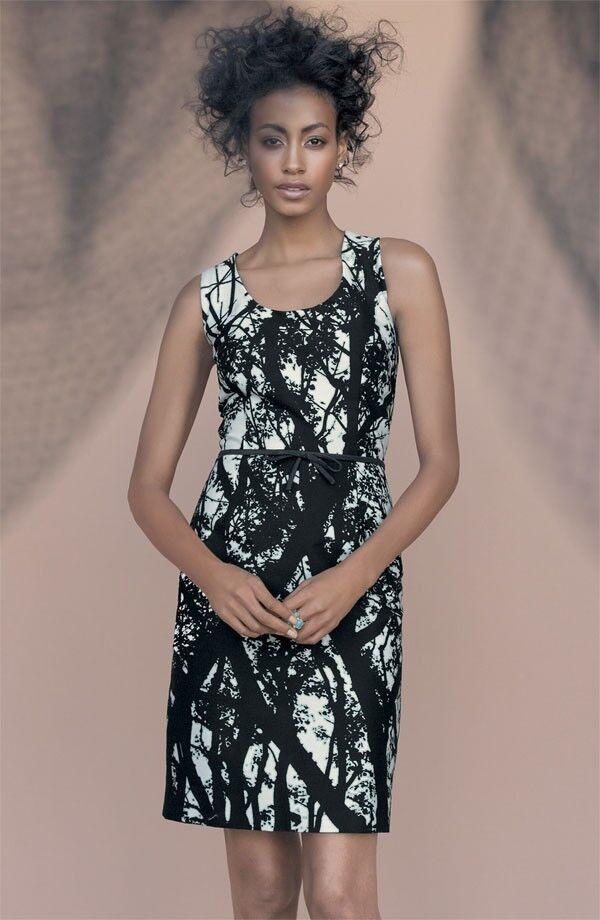 NEW TAYLOR DRESSES Abstract Tree Print Stretch Cotton Sheath DRESS Größe 6