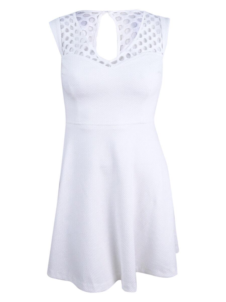 Betsey Johnson Woherren Lattice-Trim Fit & Flare Dress (4, Ivory)