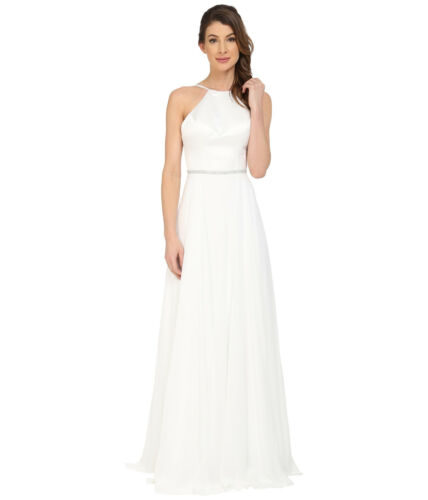 Faviana Satin Halter Gown Bridal Ivory Prom Dress Full Chiffon Skirt ...