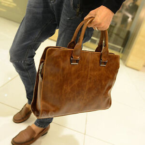 Men-039-s-PU-Leather-Briefcase-Portfolio-Business-Case-Shoulder-Messenger-Laptop-Bag
