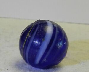 #10927m Vintage German Handmade Blue Glass Indian Marble .70 Inches