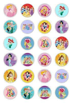 24 Disney Princess Cupcake Fairy Cake Toppers Edible Rice Wafer Paper Decoration