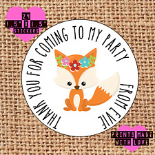 Personalised 24 cute fox party bag stickers sweet cone labels f1