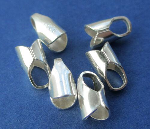 4mm Loop /& 3mm Internal Crimp Dia 925 Sterling Silver Chain End Cap Crimp 6pcs