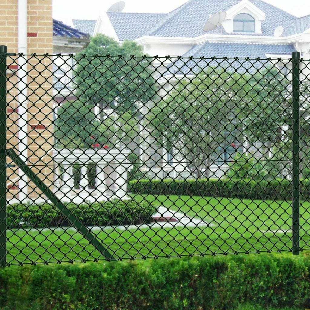 Anself Garden Chain Link Fencing Set with Posts Spike Anchors 0,8 x 15 m