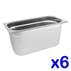 STAINLESS-STEEL-FOOD-PANS-POTS-6-x-GASTRONORM-1-3-TRAYS-150mm-DEPTH-BAIN-MARIE