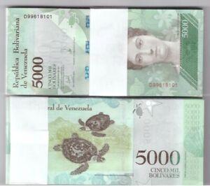 VENEZUELA-BUNDLE-OF-100-x-5000-BOLIVARES-NOTE-FUERTE-UNC-BANKNOTES-NEW-2017