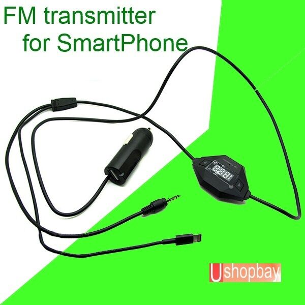 FM Radio Transmitter 3.5mm Jack Lighting USB Car Charger for iphone 5 6 (8 pin)