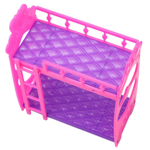 Mini Dollhouse Furniture Doll Plastic Bunk Bed Barbie House Toy Gift for Kids DY