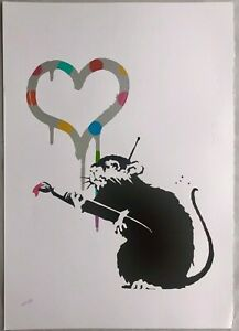 Banksy-screen-print-Love-Rat-DELUXE-EDITION-Damien-Hirst-Gross-Domestic-Product
