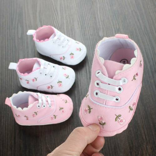 Baby Girl Shoes Floral Embroidered Soft Shoes First Walking Toddler Kids Shoes
