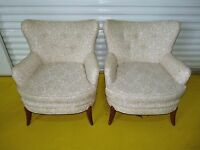 Vintage Pair Barrel Back Mid Century Lounge Club Chairs Danish Modern 051403