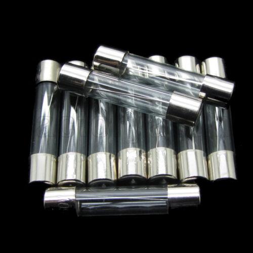 "100PCS 10A 250V Quick Fast Blow Glass Tube Fuse 6mmx30mm 0.24/""x1.18/"" F10AL250V"