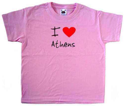 I Love Heart Athens Pink Kids T-Shirt