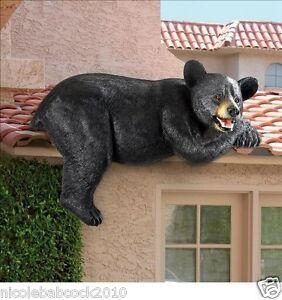 Wildlife black bear sculpture outdoor fence rooftop garden for Bear home decorations