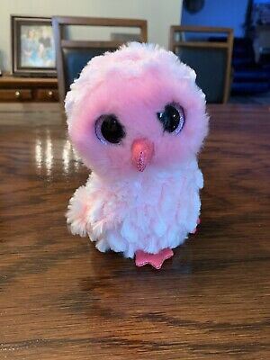 Plastic Key Clip Glitter Eyes - MWMTs S TY Beanie Boos TWIGGY the Pink Owl
