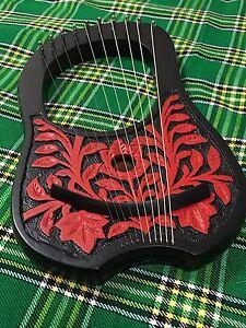 Adaptable Cc Neuf Lyre Harpe 10 Métal Chaînes Palissandre Gravé/lyra Harp String Instruments-afficher Le Titre D'origine Remises Vente