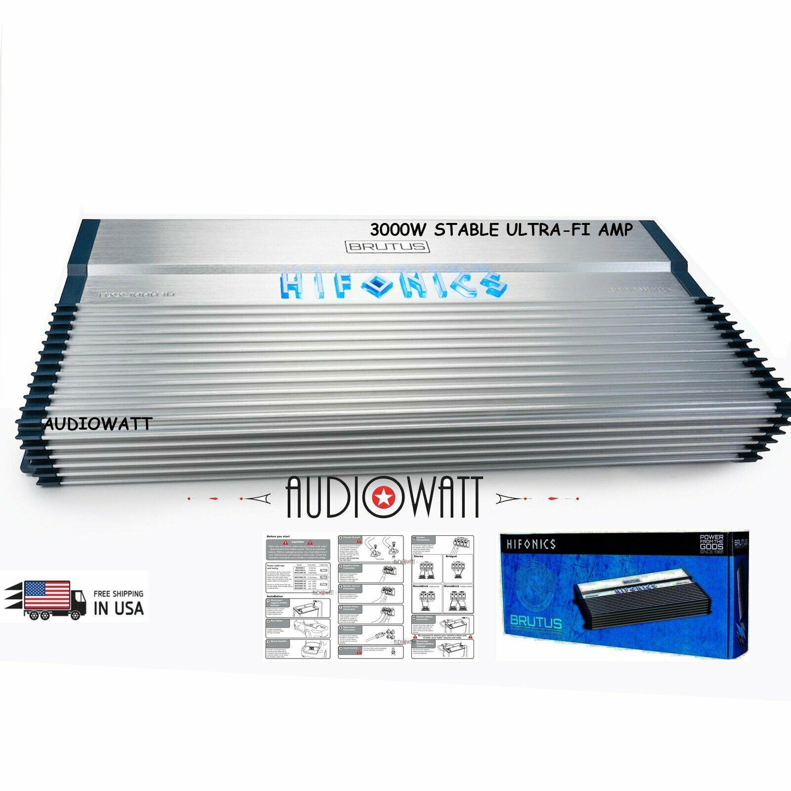 Hifonics BXX3000.1D 3000w RMS Car Audio Mono Amplifier Class D Brutus+Amp Kit