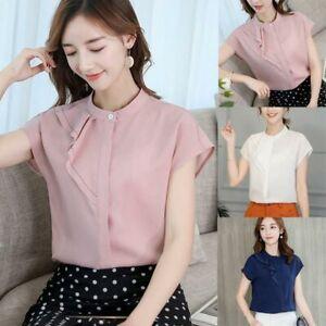 Ladies-Blouse-Loose-Chiffon-Short-Sleeve-Fashion-Shirt-Women-T-Shirt-Top-Summer