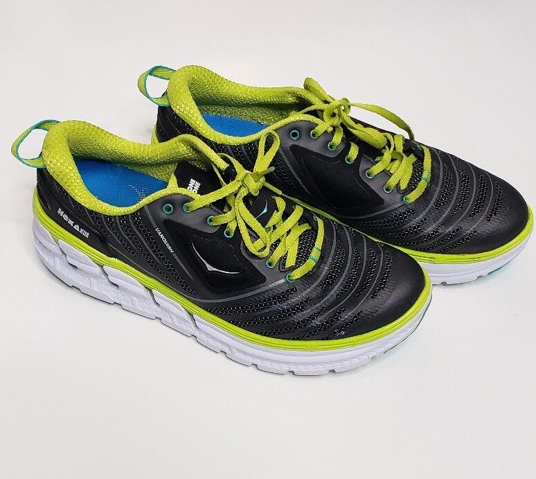 Hoka One One Vanquish Negro verde Lima Running zapatos amplia para Mujer US 10.5 W