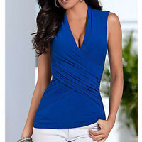 Summer Ladies Deep V Neck Sleeveless Fitted Blouse Shirt Top Evening Party Tops