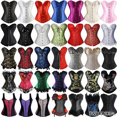 Black Sexy Women Boned Corset Brocade Overbust lace up back Bustier Plus Size FD