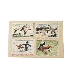 4-Vtg-1960-039-s-Migratory-Bird-Hunting-Stamps-US-Department-of-the-Interior-Used