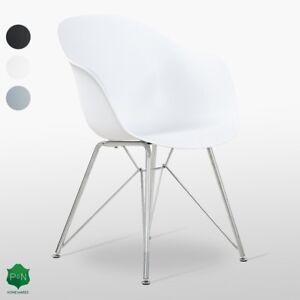 Valentina-Fauteuil-Chaise-de-salle-a-manger-avec-pieds-chromes-Moderne-Retro-Eiffel-DS-DSW-DSX
