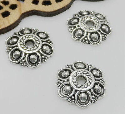 12/60/300pcs Tibetan Silver Tone Flower Beads Caps 13x2.5mm Free Shipping
