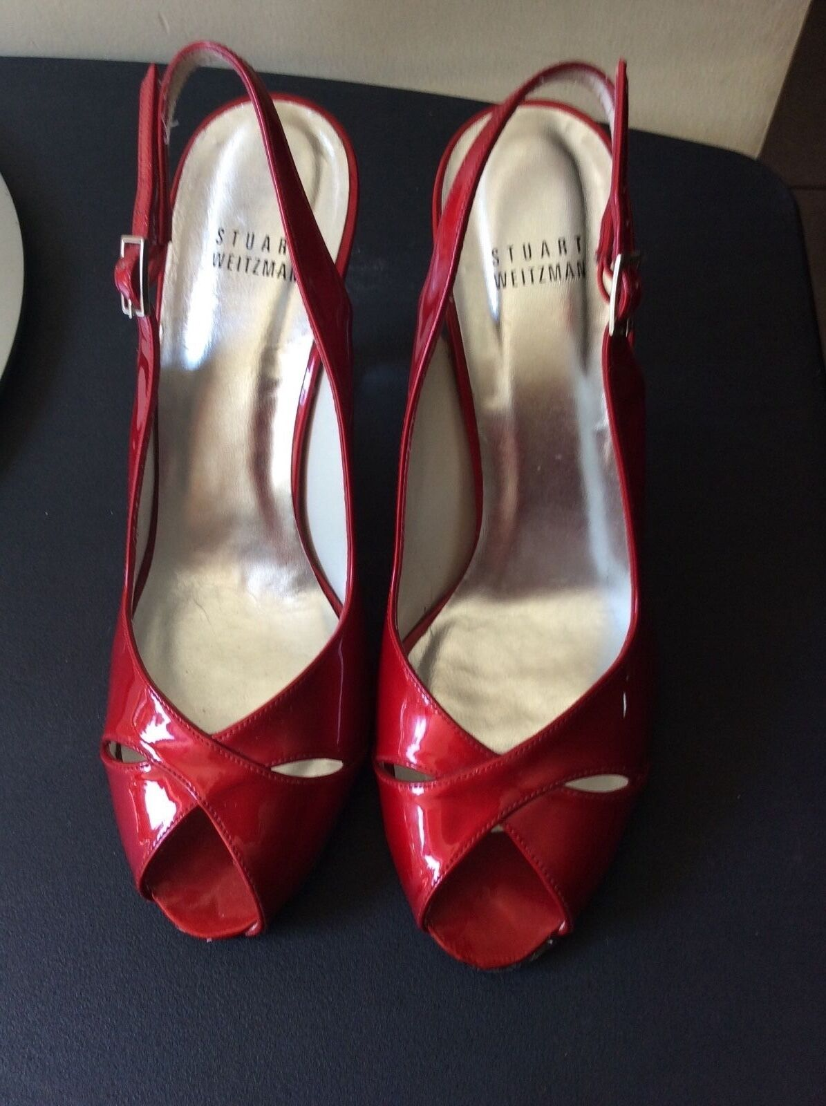 Stuart Weitzman Rosso Patent Leather Clear Wedge Slingback Heel size 8