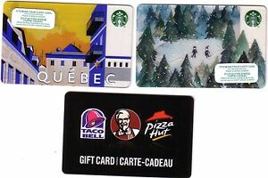 Carte Cadeau Kfc.Details About 3x Starbucks Quebec Canada Holiday Collectible Gift Card Kfc Rechargeable Lot