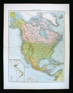 1900-Times-Map-North-America-United-States-Canada-Mexico-Alaska-West-Indies