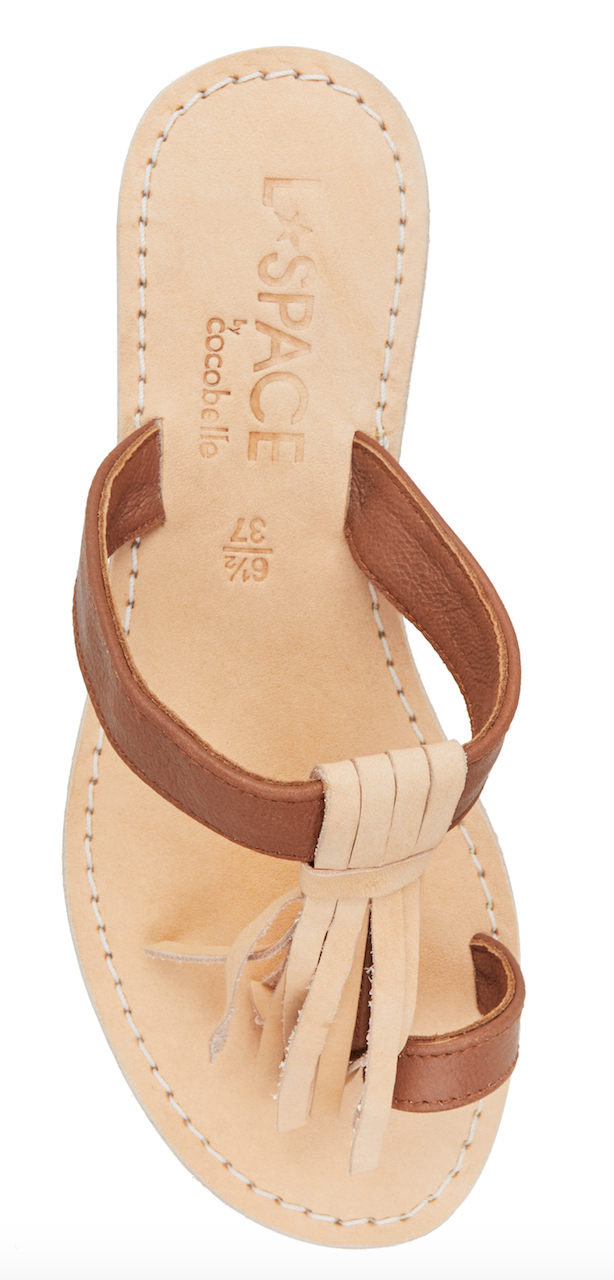 LSpace by Cocobelle Women`s Sandals Fringe Light Leather Slip On Sandal NWT
