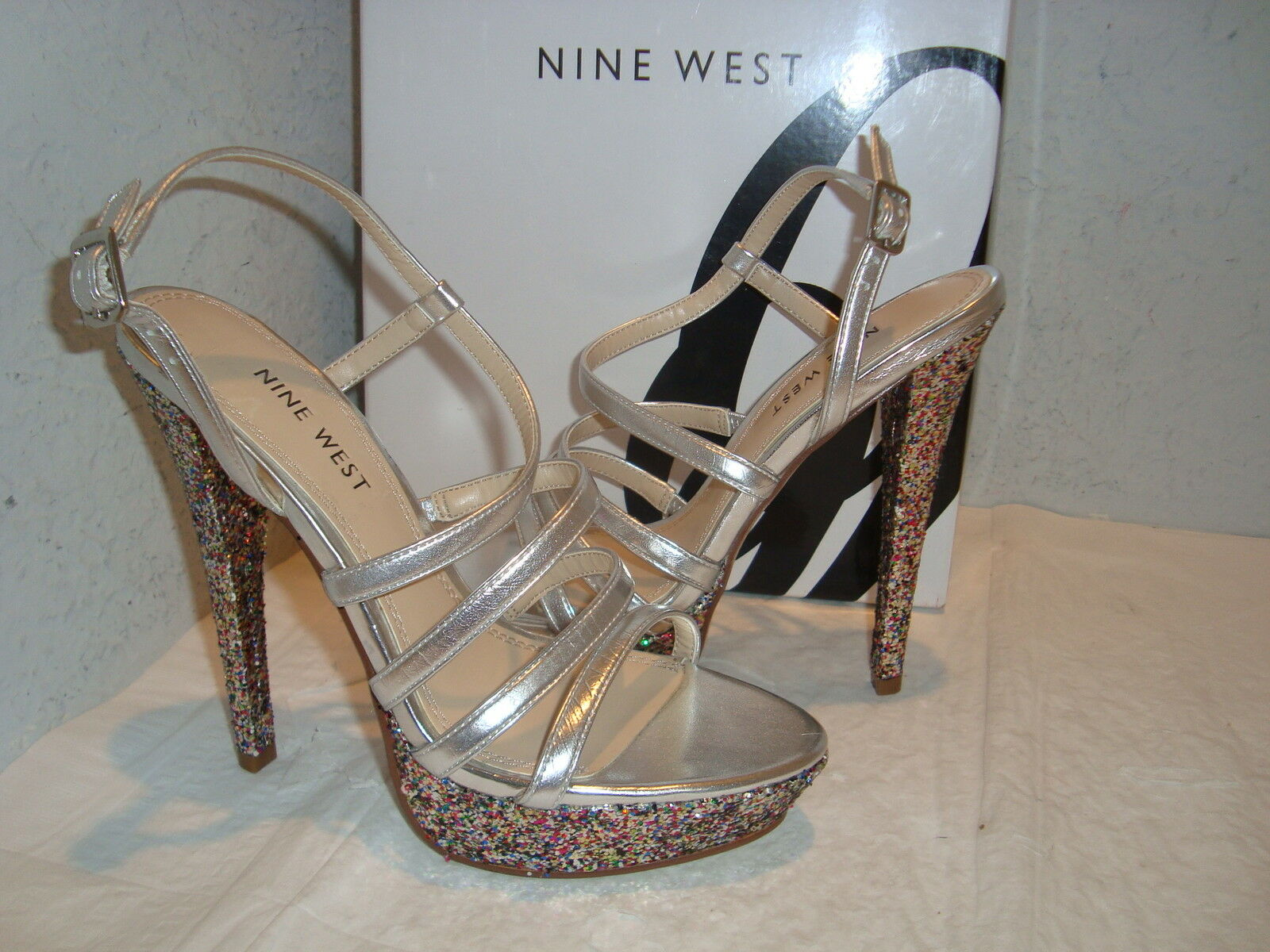 New Nine West Womens ArmCandy Glitter Heel Silver Sandals shoes 7.5 Medium