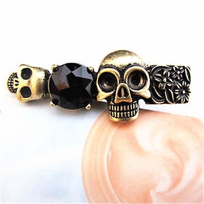 Vintage punk biker goth two skulls double finger ring 2 colours