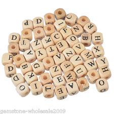 100PCS Wholesale W09 Mixed Natural Color Cube Alphabets Letter Wood Beads 10mm