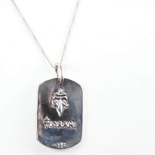 Details about  /Sterling Silver Dog Tag Pendant with Flower
