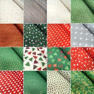 100% Cotton Fabric Lifestyle Christmas Collection Holly Santa Reindeer Snowmen