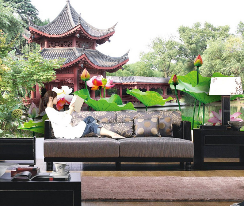 3D Pavillon Lotus 588 Tapete Tapeten Mauer Foto Familie Tapete Wandgemälde DE