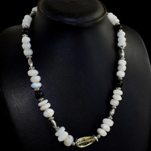 298.00 cts naturel forme ronde Moonstone /& Noir Spinelle Perles Collier NK 02E32