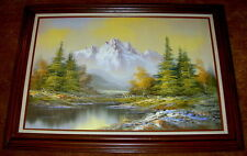 Beautiful Mountain Landscape Oil Painting Framed & Matted - Signed by K.Smith